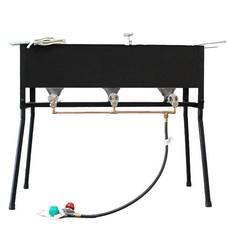 Outdoor cooker deep fryer steamer lp gas 2 vat pan 3 for Fish fryer burner